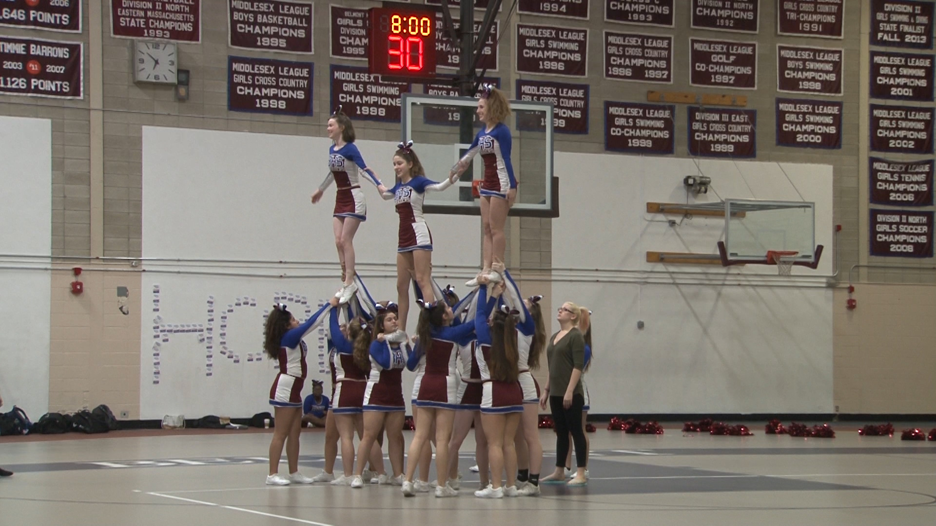 BHS Cheerleaders execute a formation